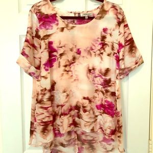 Jennifer Lopez Pink Floral Ladies' Blouse